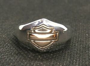 Harley-Davidson® Wedding Band Sterling Silver & 10k Gold CLOSEOUT