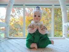 """Thai Toddler Doll Green Pants Porcelain and Cloth 6"""" Tall Seated (New)"""