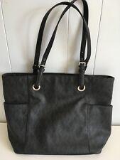 Michael Kors Jet Set Item Top Zip Black Pebbled Leather Tote Bag