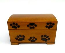 Pet Cremation Urn Medium Paw Print Wood Box Cat Dog Wood Chest Ashes Memorial