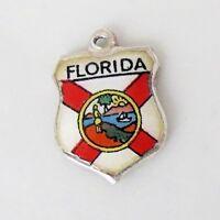 FLORIDA United States Vintage Sterling Silver Enamel Travel Shield Charm RARE
