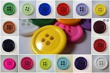 B747-30mm 6pcs VERY LARGE CLOWN 4 HOLE PLASTIC SOLID ITALIAN BUTTONS- 29 COLOUR
