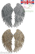 Pair sequin iron or sew on wings gold silver embroidery patch applique