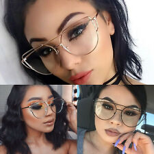 Women's EXAGGERATED VINTAGE RETRO Style Clear Lens EYE GLASSES Rose Gold Frame
