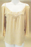 BCBG MAX AZRIA SAND BEIGE KNIT HAND CROCHETED FRONT 3/4 SLEEVE TOP BLOUSE S NEW