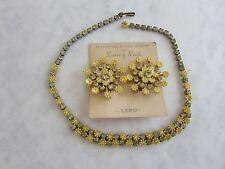 Vtg 50's LERU Signed Flower Power Post Earrings & Necklace Rhinestones Orig Card