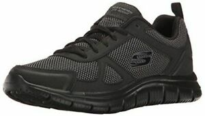 Mens Sketchers Leather Memory Foam Casual Sports Track Black Trainers Shoes Size
