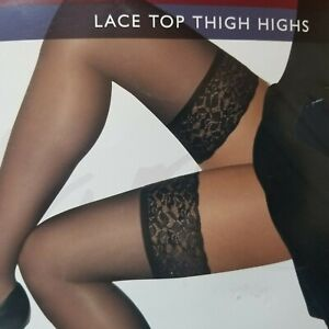 """Hanes Silk Reflections Lace Top Thigh Highs Barely Black AB  Up To 5' 7"""" & 140Lb"""