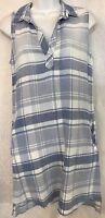 Bella Dahl Dress Blue Plaid Sleeveless V Neck Pockets Size XS