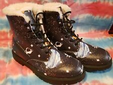 Galaxy Planet Lace Up Combat Boots Black Faux Fur Lined Unbranded Womens  10