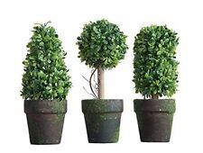 PVC Topiary In Pot SET OF 3 Styles Artificial Plant Shrub Bush Country Home