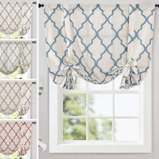 Windows Curtains Moroccan Print Tie Up Kitchen Drapes Linen Living Room 1 Panel