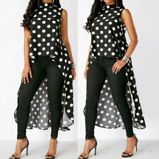 Womens Sleeveless Polka Dot Black High Low Chiffon Chic Long Blouse Tops XL