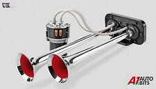SUPER Forte Cromo Dual Tone Trumpet Air Horn 12V 115dB AUTO TRENO BARCA CAMION