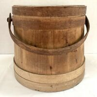 Antique Sugar Firkin Primitive Wooden Bucket w/ Lid Lapped Bands - Pencil Signed