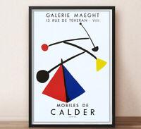 Cartel imprimido en litografía de Exposición de - CALDER - Galería Maeght- 1989.