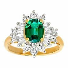 2 1/3 Ct Emerald and Sapphire Ring in 14k Gold Over Sterling Silver