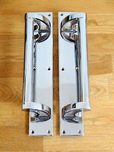CHROME ART DECO PULL HANDLES (PAIRS) DOOR PLATES KNOBS PUSH GRAB RAIL LARGE