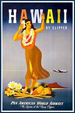 """Hawaii, Pan American Airways - Vintage Travel Poster - 18"""" x 27"""""""