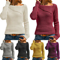 Womens Long Sleeve Knitted Pullover Sweater Sweatshirt Comfy Jumper Blouse Tops