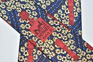 """HERMÈS MEN'S TIE BLUE, YELLOW, RED/ART NATIVE PATTERN W: 3.75""""  L: 57""""  7673 TA"""
