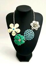 Metal Flower Statement Necklace Ivory Green Enamel Silver Flower Blue Beads...