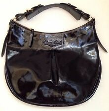 Dooney & Bourke Luisa Black Patent Leather Shoulder Bag Slouchy Hobo Medium