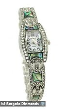 ladies vintage look abalone shell inlay silver designer-style fashion watch