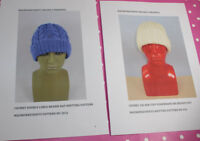 BARGAIN 2 X PRINTED KNITTING PATTERN INSTRUCTIONS - 2 X CHUNKY BEANIE HATS