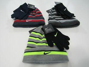 Nike Boys Futura Foldover Youth 2 Pieces Beanie & Gloves Set 9A2843 Nwt