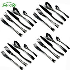 20PCS 304 Stainless Steel Dinnerware Black Cutlery Set Fork Spoon Teaspoon 1810