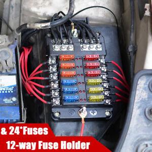 12 Way Standard LED Fuse Box Block Holder For 12V/24V Car Truck Boat Universal