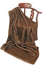 Luxurious Faux Fur Striped Throw Blanket Espresso Brown Machine Washable NWT