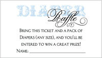 20 Diaper Raffle Tickets - Boy Baby Shower Invitation Insert