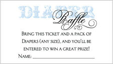 20 Diaper Raffle Tickets - Boy Baby Shower Invitation Insert