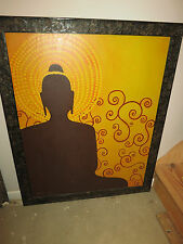 Rare Original Namaste BUDDHA Oil painting, signed Very Large 36 x 44