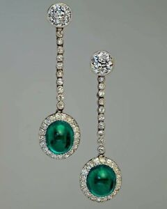 Green Cabochon & White Round Brilliant-cut Long Halo Earrings Party Fine Jewelry