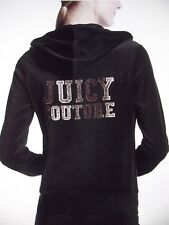 JUICY COUTURE $118 Medium PITCH BLACK VELOUR VARSITY ROBERTSON JACKET HOODIE M