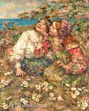 Two Flower Girls by Edward A Hornel - Children Blossoms 8x10 Print Picture 1571