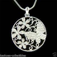 Swarovski ashling crystal flower pendant ebay w swarovski crystal filigree floral flower butterfly family pendant necklace new aloadofball Gallery