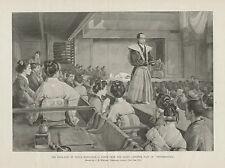 Japan, Theatre Drama Chiushingura, Hara Kiri, Original 1884 Antique Art Print,