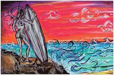 Poster Surfer Girl Art Surf print ocean waves surfing fall Drew brophy inspired