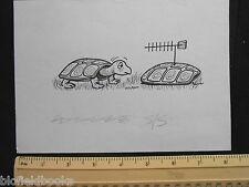 ORIGINALE IVAN Wilding tartaruga con antenna tv cartoni animati (FUMETTO cartolina artista)