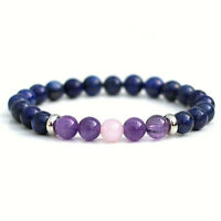 Lapis Lazuli Amethyst Rose Quartz Bracelet 8mm Natural Beads