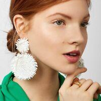 Fashion White Glass Beaded Earrings Women Round Drop Dangle Ear Stud Jewelry NEW