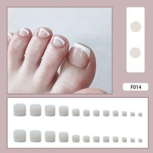 Summer False Toe Nails Short Full Detachable Press On Toenails French White Tips
