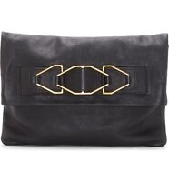 Vince Camuto Luk Leather Foldover Clutch - Black NEW