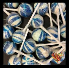 BLUE & WHITE BALL LOLLIPOPS  50CT LOLLYPOPS CANDY BUFFET BALL POPS BLUE LOLLIES