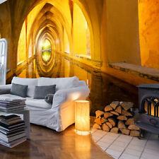 VLIES FOTOTAPETE Tunnel gold gelb 3D effekt TAPETE WANDBILDER XXL Wohnzimmer 102