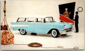 1957 CHEVROLET CHEVY 210 BEAUVILLE Car Adv. Postcard India Ivory / Larkspur Blue